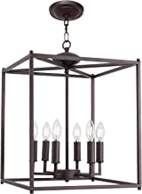 Foyer Chandelier Lighting Farmhouse Light,6 Lights Oil Rubbed Bronze Metal Cage Pendant Lighting Kitchen Island Fixtures Lantern Style for Entryway,Hallway and Dining Room