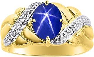 Anillo de zafiro con estrella azul y diamante en oro amarillo de 14 quilates, piedra de nacimiento de color