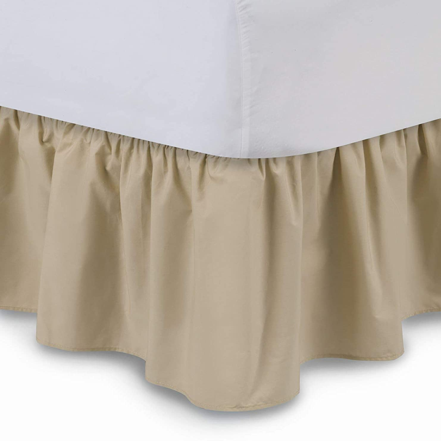 どうしたの地下室錆びUniwaresal コットンベッドスカート プラットフォーム付き 18インチ オリンピッククイーンサイズ キャメル