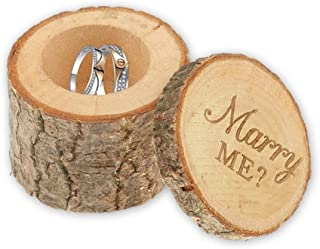 Best Engraved Proposal Wedding Ring Box, Real Wood Engagement Ring Box, Wedding Ring Bearer, Gift Box for Necklaces, Rings, Rustic Ring Box, Proposal Box (Marry Me) Review