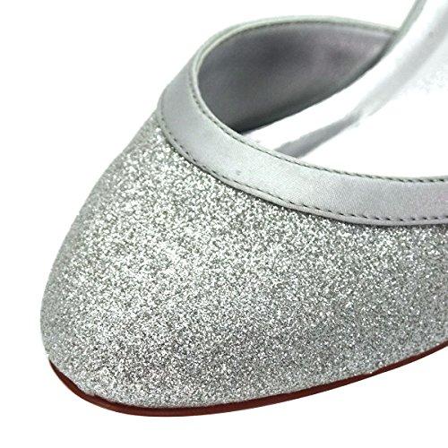 ElegantPark HC1510 Runde Zehen Hoch Absatz Schnalle Pumps Glitter PU Silber Party Tanzschuhe Damen Brautschuhe Gr.40 - 2