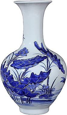 Wddwymll Vases en Céramique,Bleu et Blanc en Porcelaine Vases,Vase Decoratif Salon,Chine Ming Style,Hauteur 33cm
