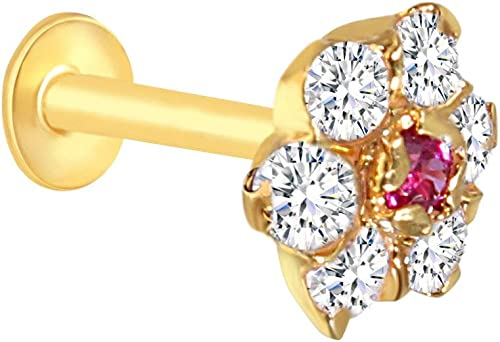 Gehlot Jewellery Gold Plated Nose Pin Stud For Women And Girl Red White