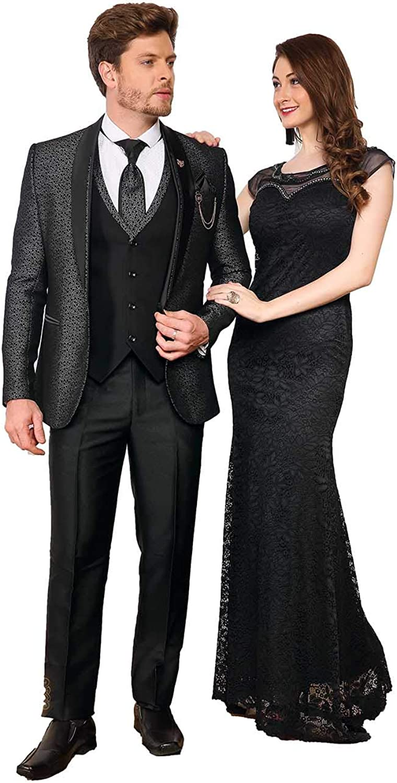 daindiashop-USA Indian Suit for Men Boys Wedding 4 Pc Suit Coat Pant Vest Tie ICW2297-2