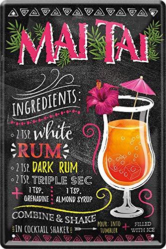Blechschilder Cocktail Rezept – Alkohol Deko Metallschild Schild für alle Bar Theke oder Pub Besitzer Geschenk zum Geburtstag oder Weihnachten 20x30 cm (Mai TAI)