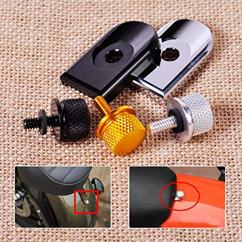 Motorcycle 1/4' Knurled Seat Screw Cover Bolt Mount Knob for Harley Sportster Dyna Softail Ultra Glide Fatbob Touring (Set D)