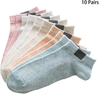 Women's Socks, Running Low Cut Liner Socks Soft & Breathable Cushioned Invisible Solid Color Cotton Socks Boat Socks 10 Pair