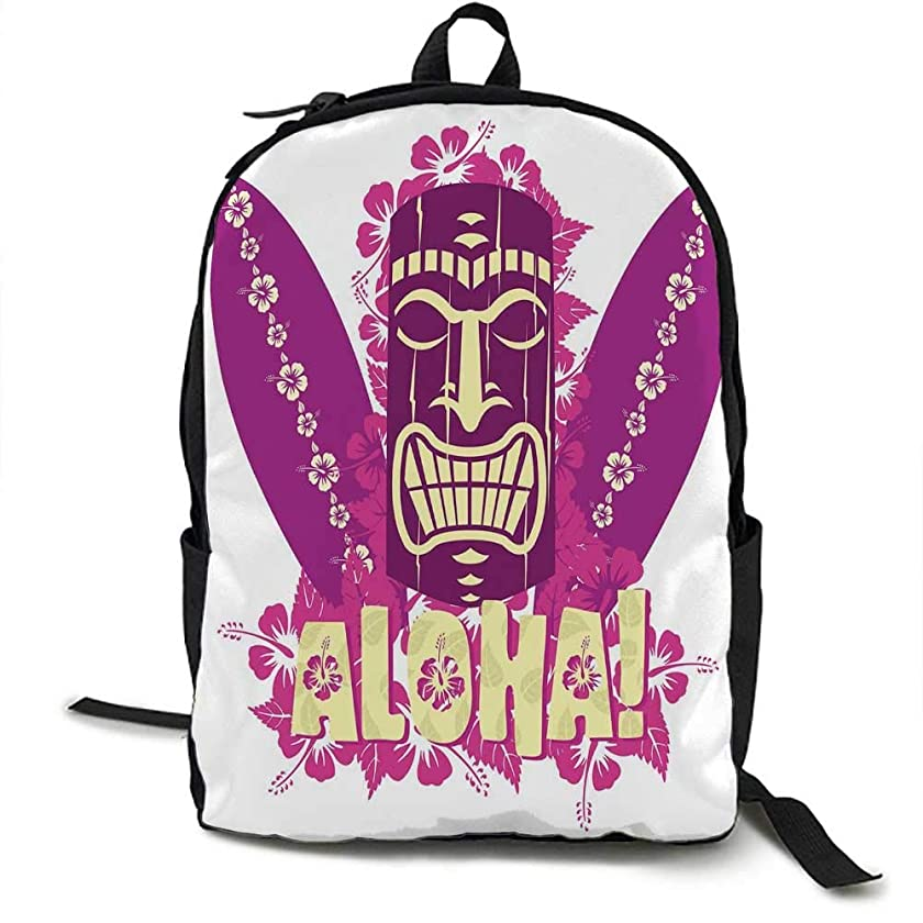 Tiki Bar Decor Unisex classic backpack Tiki Culture Figure Surfboards Hibiscus Hand Drawn Aloha Suitable for 16-inch laptops 16.5 x 12.5 x 5.5 Inch Hot Pink Purple Light Yellow