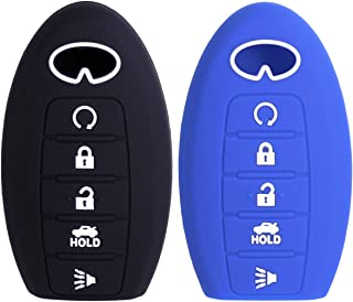 2Pcs WERFDSR Sillicone key fob Skin key Cover Keyless Entry Remote Case Protector Shell for Infiniti JX35 2014 2015 2016 QX60 QX80 Q50 smart remote 5 button black blue