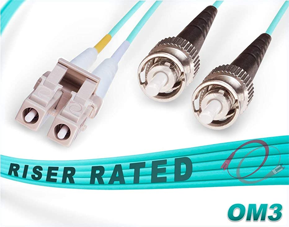 FiberCablesDirect - 1M OM3 LC ST Fiber Patch Cable | 10Gb Duplex 50/125 LC to ST Multimode Jumper 1 Meter (3.28ft) | Length Options: 0.5M-300M | ofnr mmf lc-st dx 1/10/40gig spf+ lc/st aqua patchcord