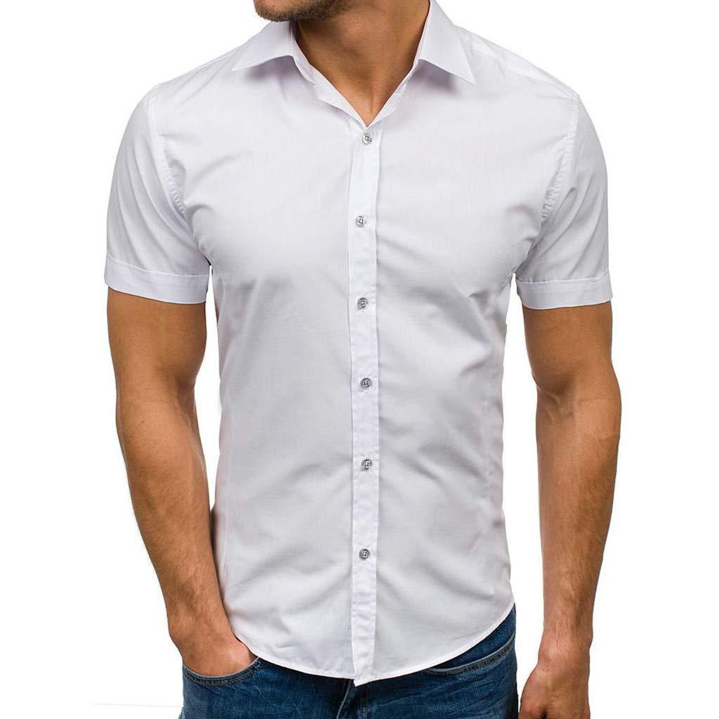 ღLILICATღ Camisas de Manga Corta para Hombre La Solapa Camisa con Botones Color sólido para Trabajo al Aire Libre Viaje: Amazon.es: Deportes y aire libre