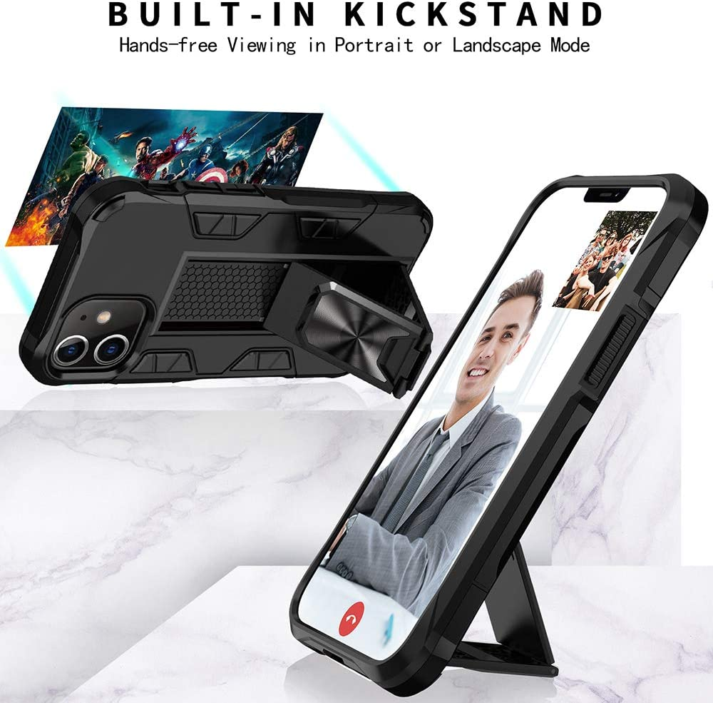 Rose Gold iPhone 12 Case 12 Pro Case 6.1 inch Military Grade Shockproof with Kickstand Stand Built-in Magnetic Car Mount Armor Heavy Duty Protective Case for iPhone 12//iPhone 12 Pro Phone Case