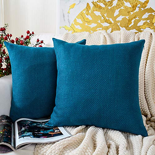MERNETTE Pack of 2, Chenille Soft Decorative Square Throw Pillow Cover Cushion Covers Pillowcase, Home Decor Decorations for Sofa Couch Bed Chair 18x18 Inch/45x45 cm, Sapphire Blue