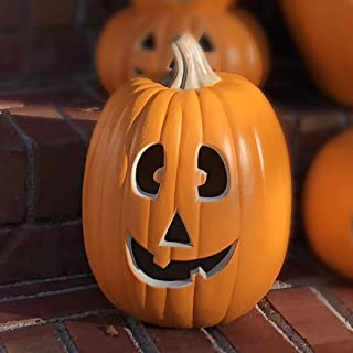 Jackolantern Decorations - Waterproof Prelit Fake Pumpkin Decorations Long Lasting Bulb - Halloween Decorations Pumpkin with Certified Cord and 2 Safety Fuse for Indoor Outdoor Use - 13 Inch