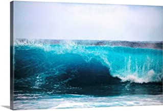 "Hawaii, Oahu, Beautiful Wave Breaking Canvas Wall Art Print, 48""x32""x1.25"""
