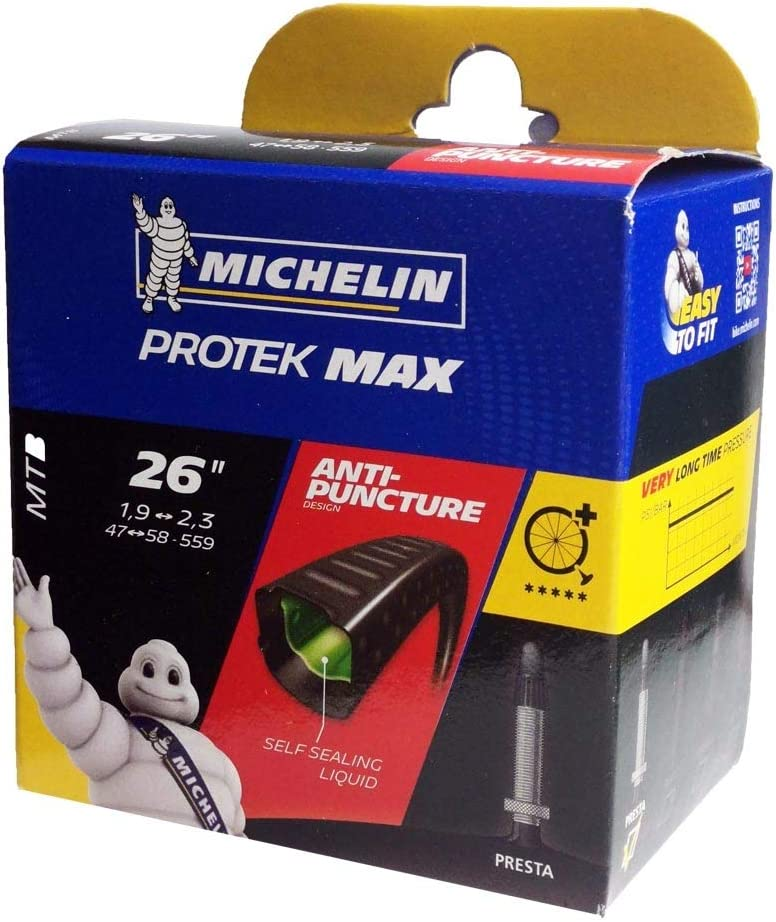"""Inner Tube Bicycle MICHELIN Protek Max Mountain Bike 26 /"""" Inches Puncture Presta"""
