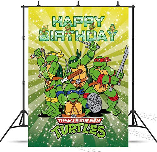 Teenage Mutant Ninja Turtles Birthday Party Backdrop Boys Kids Happy Birthday Banner Cartoon Movie Background for Photography 5x7ft