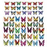 Garten Schmetterling Stangen Dekoration 3D Ornamente Gartendeko Frühling Pflanzkasten Schmetterlinge Deko auf Stöcken Hof Terrasse Party Terrasse,Pflanztopf,Flower Bed dekoration Bunt 100 Stück