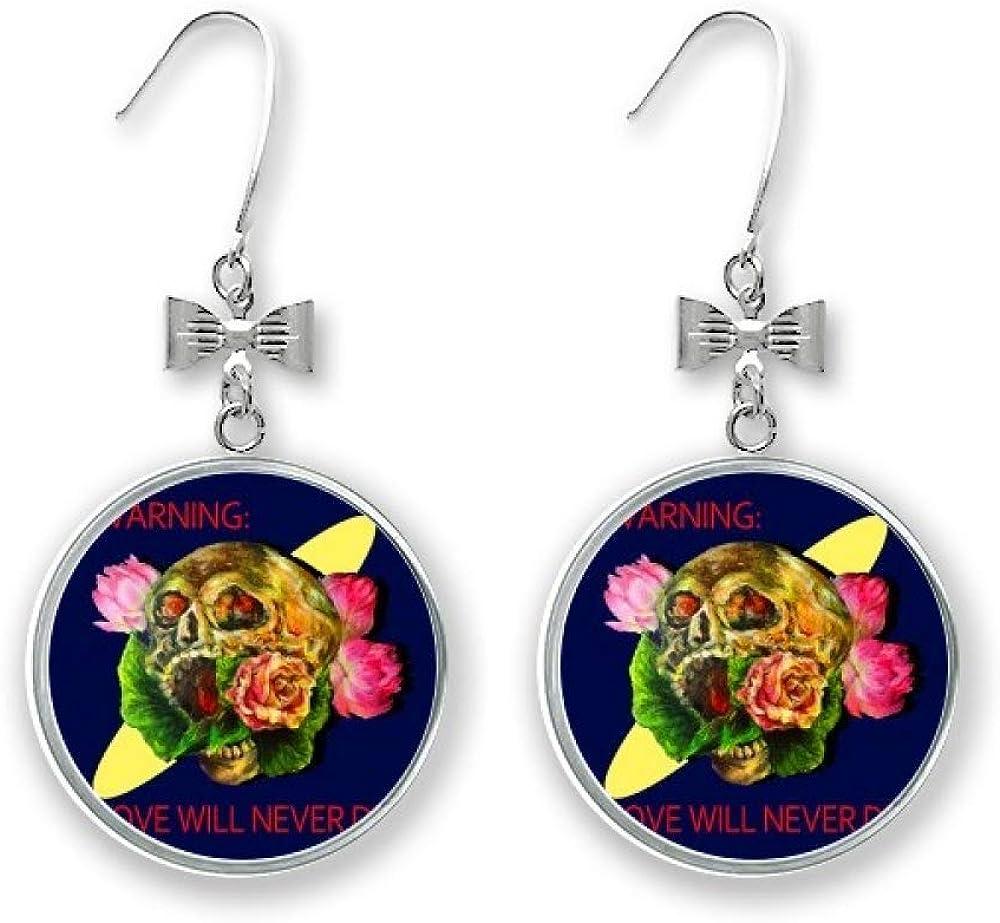 Love Will Never Die Skull Bow Earrings Mail order Drop Portland Mall Stud Pierced Hook