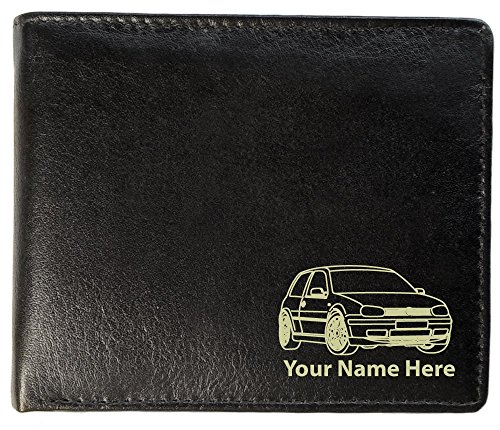 VW Golf Mk4 GTI Design, Personalised Mens Leather Wallet (Toscana Style)