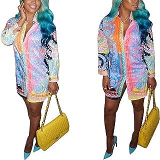 Women's Floral Print T-Shirt Dress - Button Down Long Sleeve Collar Loose Blouse Tops Mini Dress