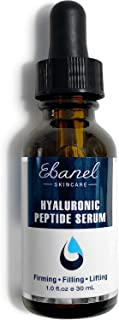 Ebanel Hyaluronic Acid Serum for Face with Peptides, Deep Hydrating Anti Aging Serum, Visibly Plump, Firm & Smooth Skin, Reduce Redness with Vitamin C, E and B5, Niacinamide, Aloe, Jojoba Oil, MSM