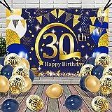 30 Cumpleaños Decoracion Globos, APERIL Azul Oro Póster Pancarta Globos de Cumpleaños Feliz Fiesta 30 Años Adultos Mujer Hombre, Confeti Latex Globos, 30 Aniversario Cumpleaños Pancarta de Fondo