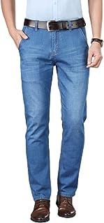 Pantalones Vaqueros de Negocios Rectos de Verano de sección Delgada de Color sólido, Pantalones elásticos de Cintura Alta ...
