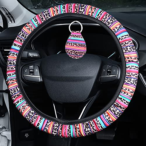 Accmor Leopard Car Steering Wheel Covers for Women Girls, Cute Stretchy Steering Wheel Covers Universal Fit 15 inch with 1 Pcs Key Chain, Cheetah Neoprene Auto Car Cloth Wrap Cover for Ladies