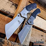 Little Cleaver Combo 2 PC OUTDOOR CAMPING Assisted Open Folding Pocket Knives Miniature 6.5' Cleaver + 8' Cleaver Style BUCKSHOT RAZOR Blade Gift Set (Combo 1)
