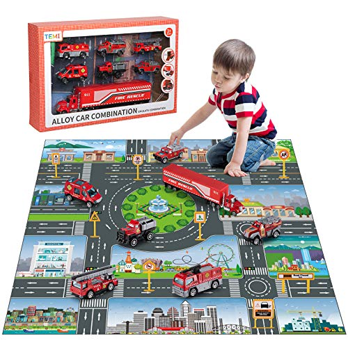 TEMI Diecast Emergency Fire Rescue Vehicle Toy Set w/ Play Mat, Truck Carrier, Water Cannon Vehicle, Medical Ambulance, Ladder Truck, Alloy Metal Fire Fighting Car Play Set for Kids, Boys & Girls