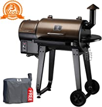 Z Grills ZPG-450A 2019 Upgrade Model Wood Pellet Grill & Smoker, 6 in 1 BBQ Grill Auto Temperature Control, 450 sq Inch Deal, Bronze & Black Cover Included