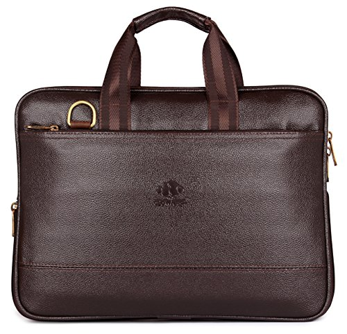 The Clownfish Vegan Leather 14 inch Briefcase Slim Expandable Bag Upto 14 inch Laptop Size Laptopbag Slim Bag (Chocolate)