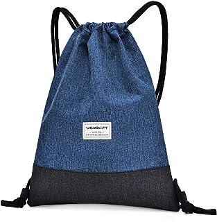 Mochila de Cuerdas, Mujer Hombre Bolsas de Cuerdas, Impermeable Gimnasio Deporte Drawstring Backpack, Ajustable Correas de Hombros Gym Bag