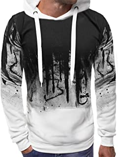 Morbuy Men's Casual Hoodie Jacket Pullover Personality Letter Spring Autumn Sweatshirt Suit Bodybuilding Training Gym Top