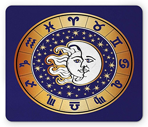 Sun and Moon Mouse Pad, Sky Elements Binnen in een Horoscoop Cirkel met sterrenbeelden Astrologie, Standaard Grootte Rechthoek Antislip Rubber Mousepad, Indigo Aarde Geel