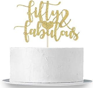 Decoración para tarta con purpurina dorada 50 y fabulosa para decoración de fiesta de 50 cumpleaños.