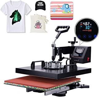 APWONE Heat Press 15x15 Inch Heat Press Machine 2 in 1 Multifunctional DIY LED Digital Heat Press Transfer Sublimation 360 Degree Swing-Away for T-Shirts Hat