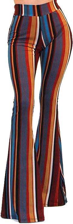 60s Pants, Jeans, Hippie, Flares, Jumpsuits Vivicastle Womens USA Boho Comfy Stretchy Bell Bottom Flare Pants  AT vintagedancer.com