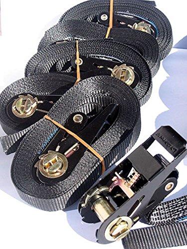 Spanngurt mit Ratsche 4m 800daN/400daN Black Edition (Vorteilspackung 4 Stück), iapyx®