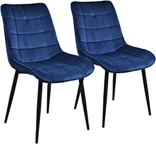 Modern Dining Chair Set of 2, Metal Legs Velvet Cushion Seat and Back for Dining Living and Waiting Room Chairs (Blue)
