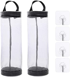 Plastic Bag Holder Dispensers Mesh Garbage Bag Organizer Folding Hanging Storage Bags for Home and Kitchen 2 Pcs with 4 Hooks