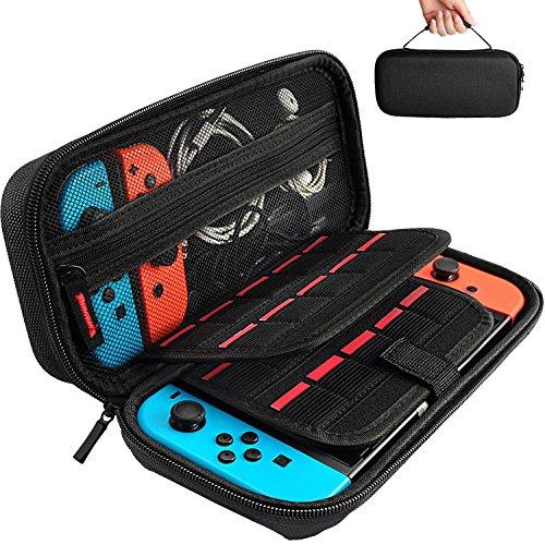 Hestia Goods Tasche für Nintendo Switch, Harte Tragetasche Hülle Case für die Nintendo Switch, Schutzhülle mit Aufbewahrung für 20 Spiele, Konsole & Zubehör - Schwarz