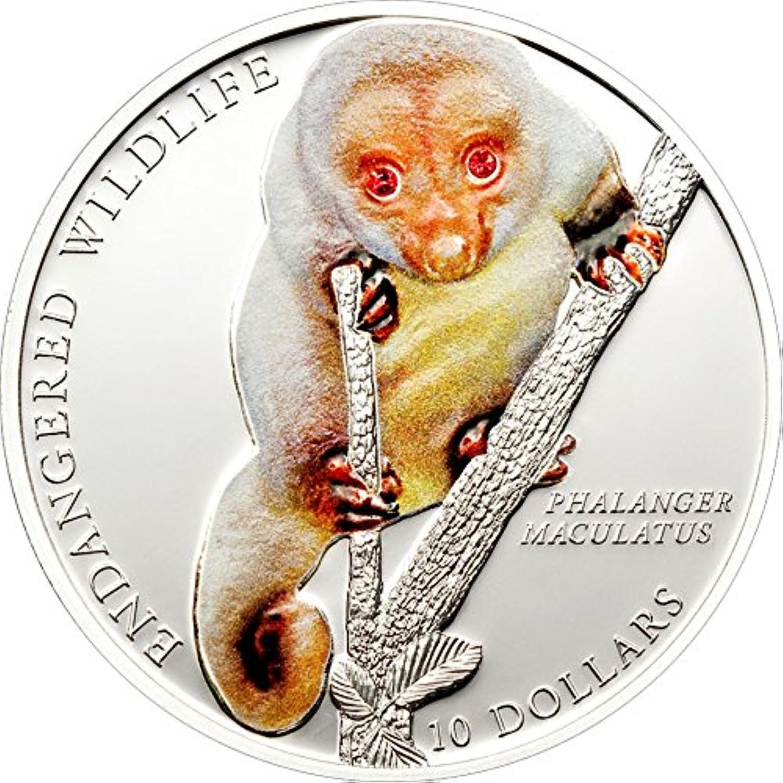 producto de calidad Power Coin Spotted CUSCUS Moteado Endangerojo Endangerojo Endangerojo Wildlife Swarovski Moneda Plata 10  Solomon Islands 2010  selección larga