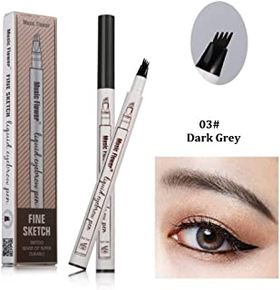 Tattoo Eyebrow Pen with Four Tips Long-lasting Waterproof Brow Gel and Tint Dye Cream for Eyes Makeup (3#Dark Gray)