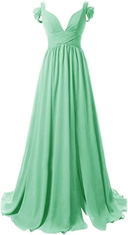 Mathena Women's V Neck Cap Sleeve Spit Side Ruffles Long Bridesmaid Prom Dress