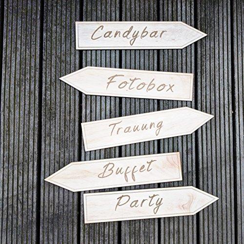 Party Holzschilder Für Hochzeitswegweiser | Set Mit 5 Pfeilen Aus Holz