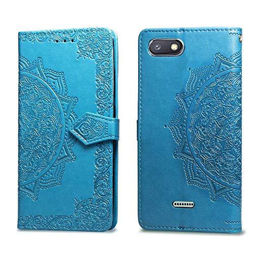 Bear Village Hülle für Xiaomi Redmi 6A / Redmi 6, PU Lederhülle Handyhülle für Xiaomi Redmi 6A / Redmi 6, Brieftasche Kratzfestes Magnet Handytasche mit Kartenfach, Blau