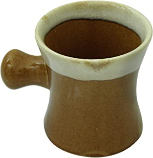 CraftnGifts Brown Gentleman's Ceramic Shaving Soap Mug with Ball Grip Handle - Mugs for Shave Soap and Cream