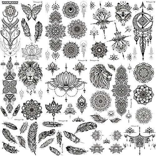 COTTONIX 9 hojas Tatuajes Temporales Adultos Grandes, Tatuaje Temporal Para Pegar a...
